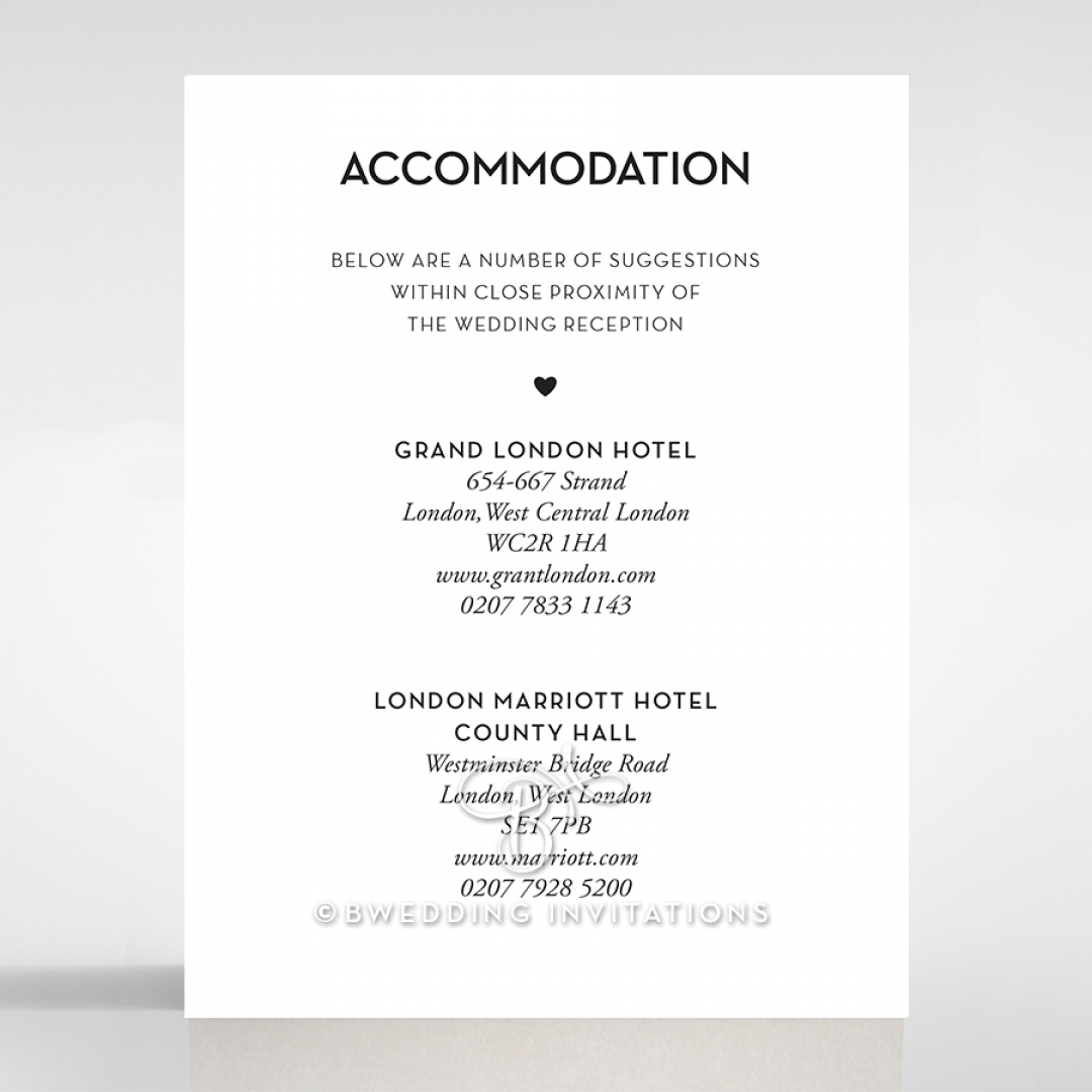 Clear Chic Charm Paper wedding stationery accommodation card design