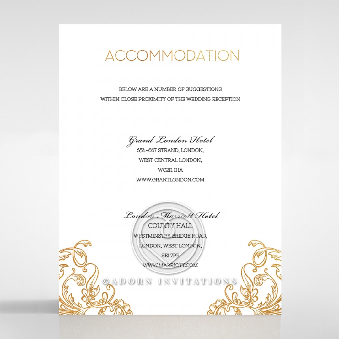 Gold foiled crest accommodation card modern elegance modern crest accommodation invite da116122 ki gg stopboris Choice Image