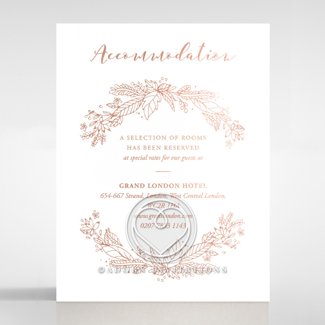 Chic Garden Themed and Rose Gold Foiled Accommodation Card