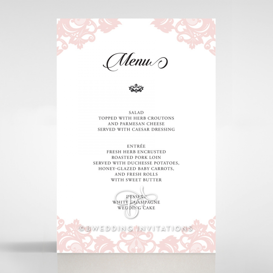 Baroque Pocket wedding reception menu card