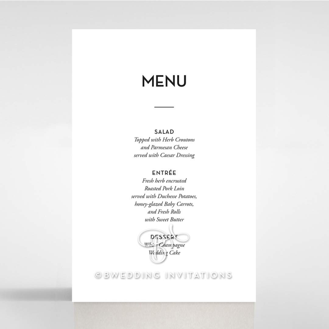 Clear Chic Charm Paper wedding venue menu card