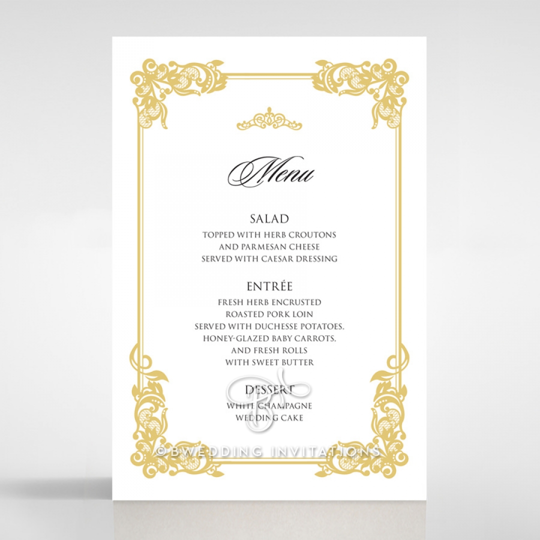 Divine Damask wedding reception menu card stationery design