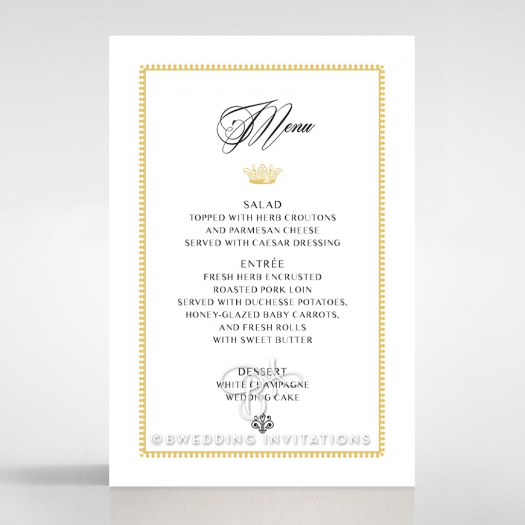 Ivory Doily Elegance table menu card design