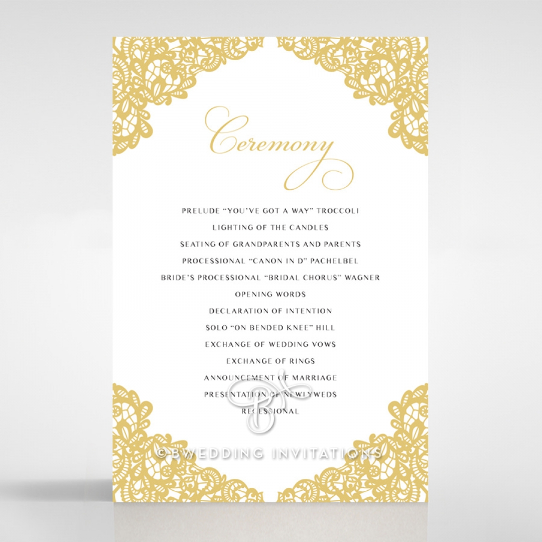 Charming Lace Frame order of service invite card design