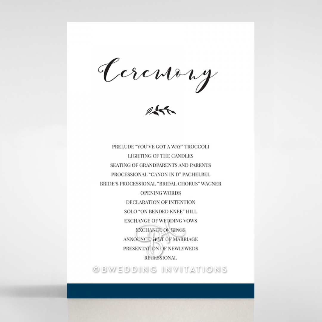 Forever Love Booklet - Navy wedding stationery order of service ceremony invite card