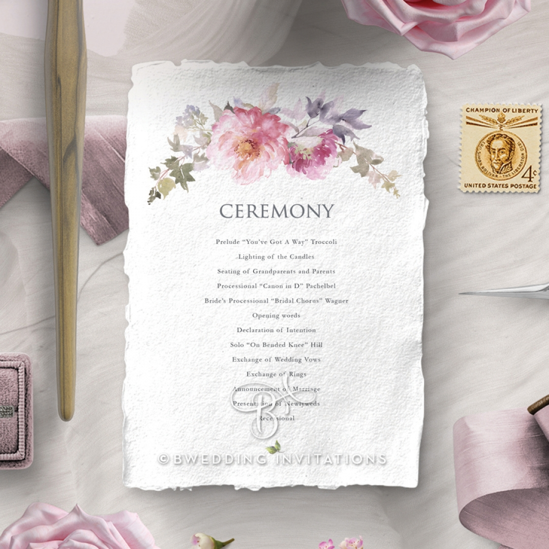 Happily Ever After wedding stationery order of service ceremony invite card design