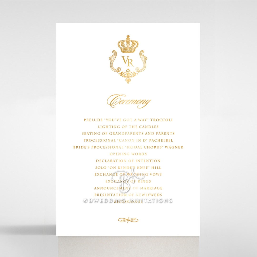 Ivory Victorian Gates with Foil order of service invite card design