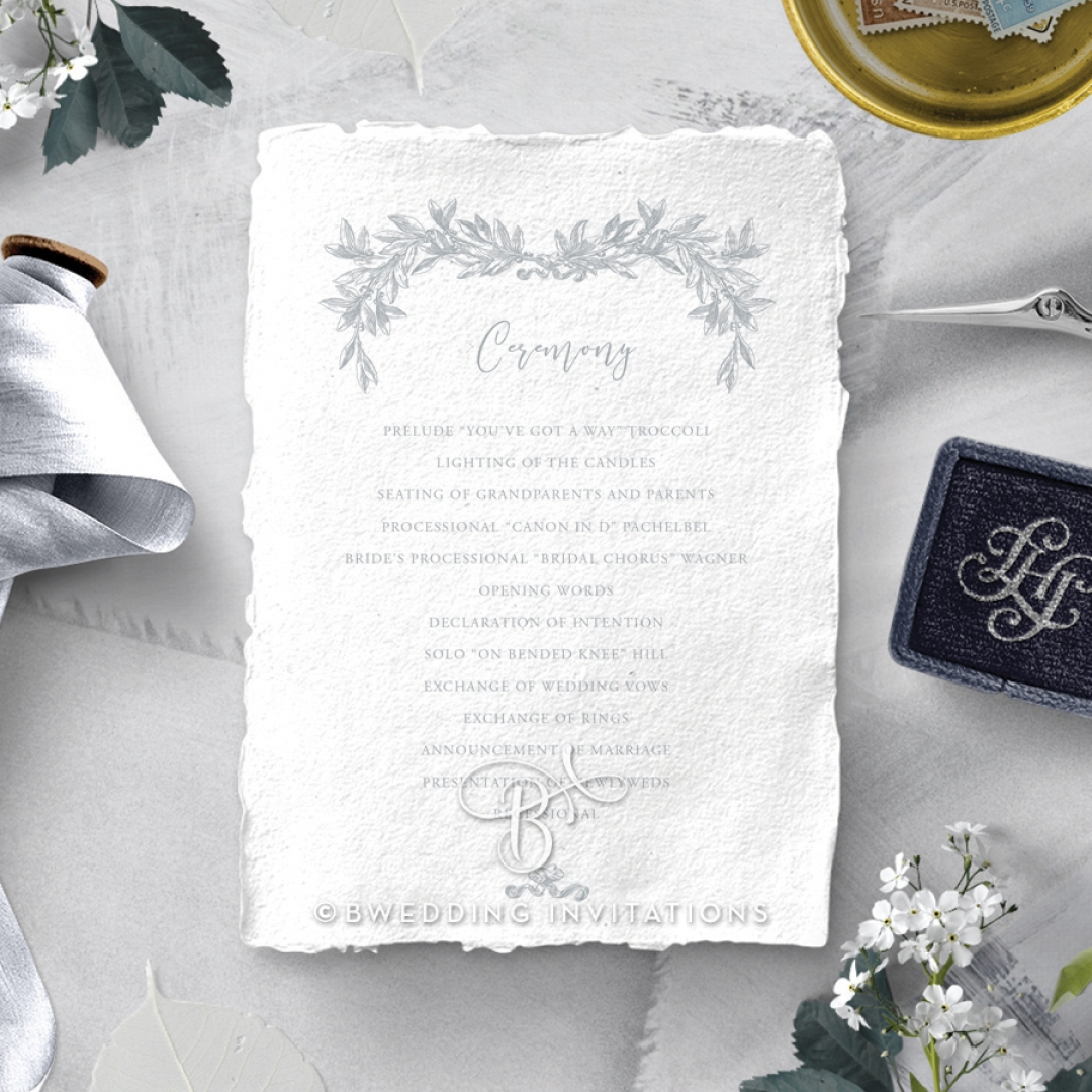 Leafy Wreath wedding order of service invite card