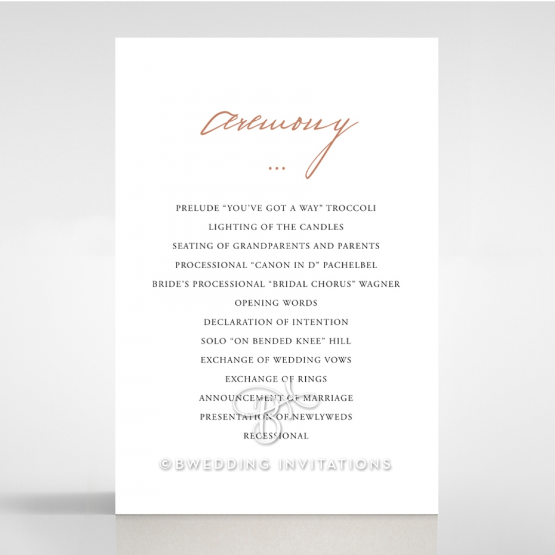 Sunburst wedding stationery order of service card design