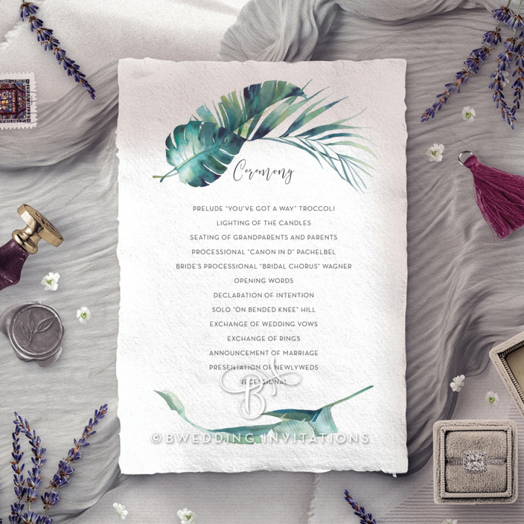 Tiki Hut order of service stationery card