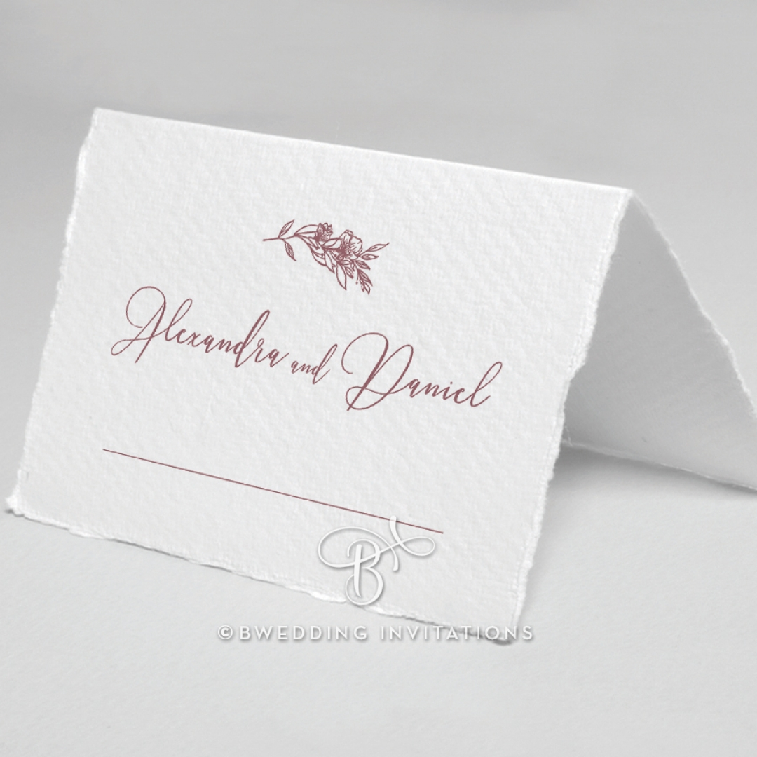 Bouquet of roses table place card design