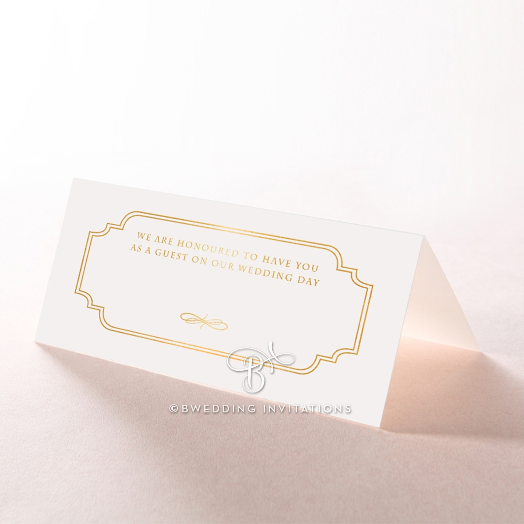 Ivory Victorian Gates with Foil wedding place card stationery