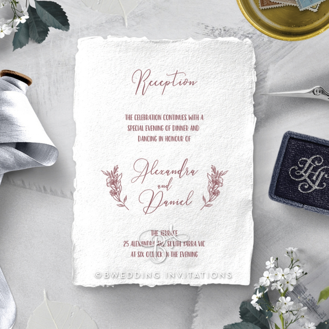 Bouquet of roses wedding stationery reception invite card design