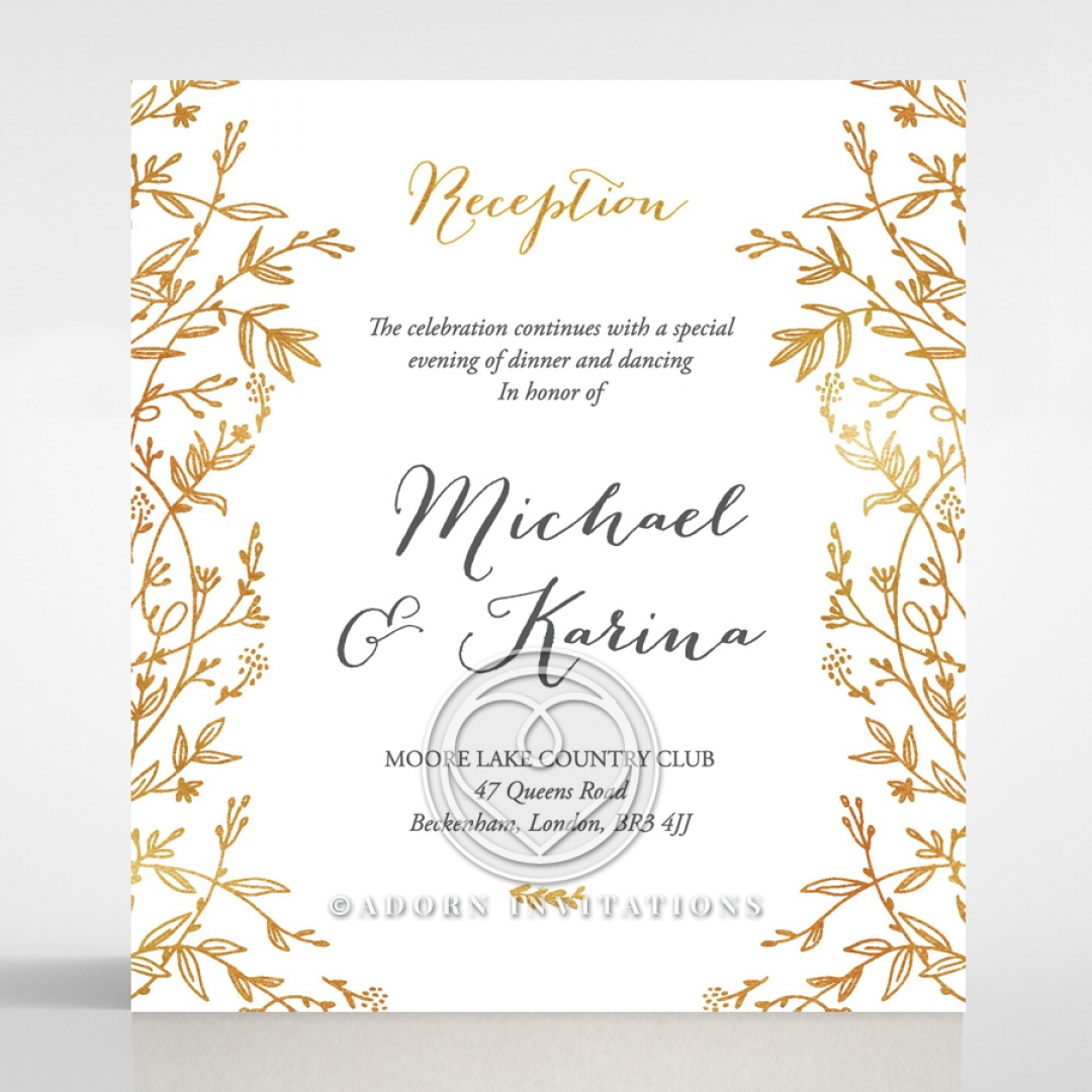 golden floral frame exquisite wedding reception card