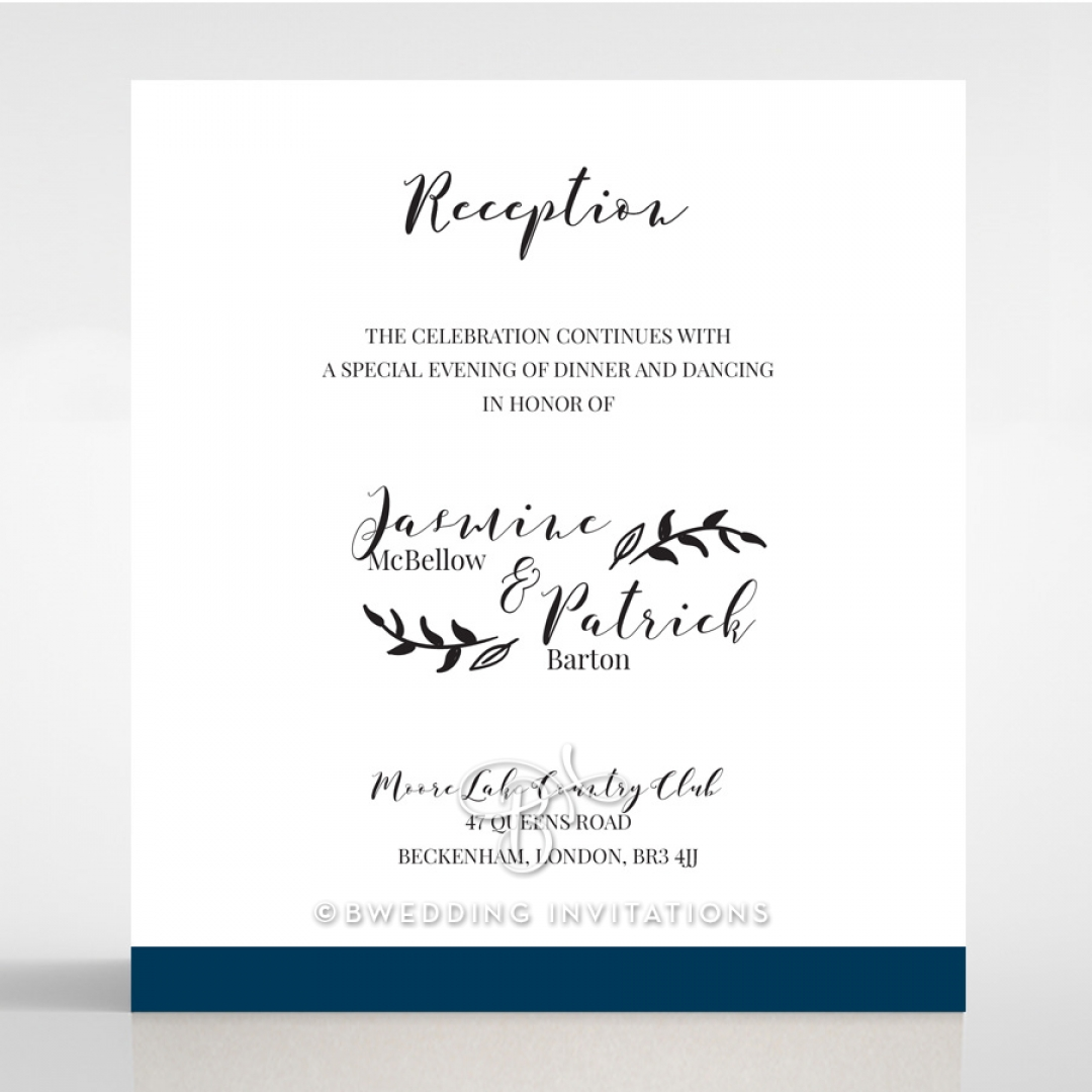 Forever Love Booklet - Navy wedding stationery reception enclosure card