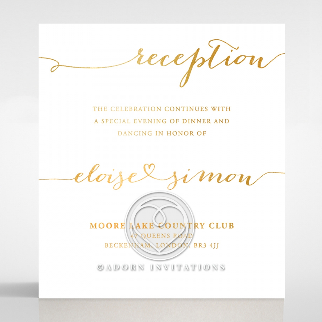 extravagant gold inked reception card infinity designs
