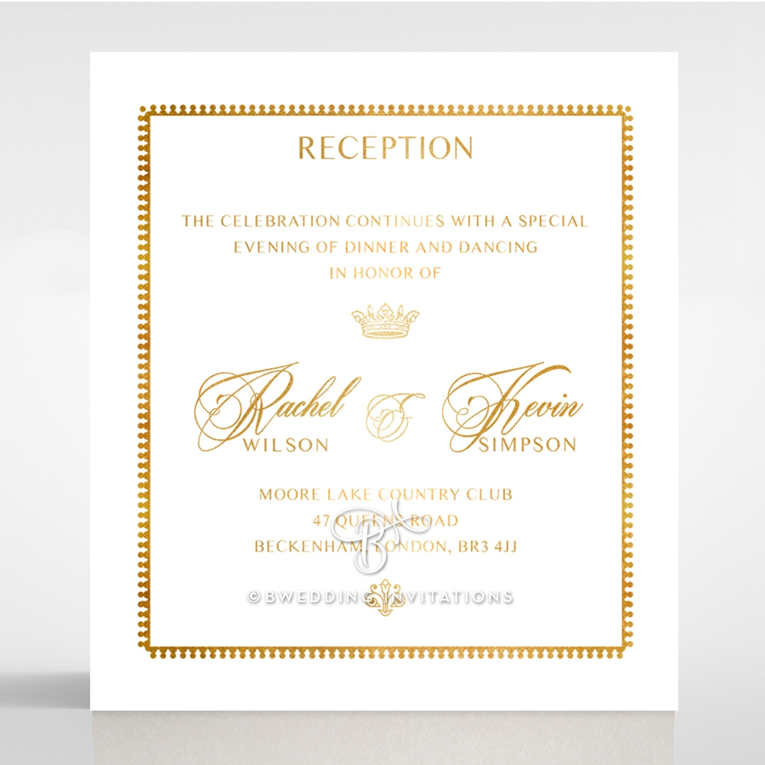 Ivory Doily Elegance with Foil reception stationery card design