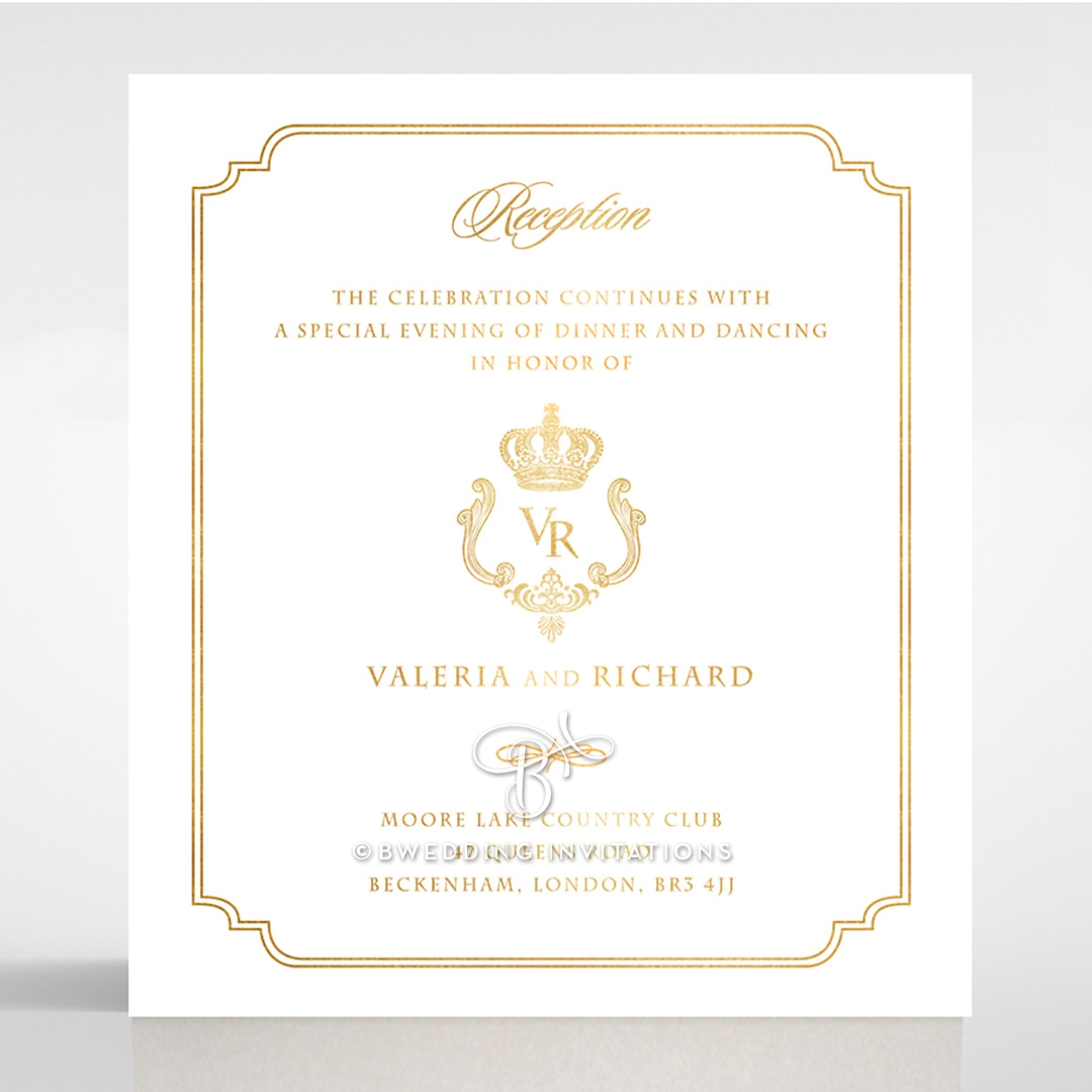 Ivory Victorian Gates with Foil reception stationery card