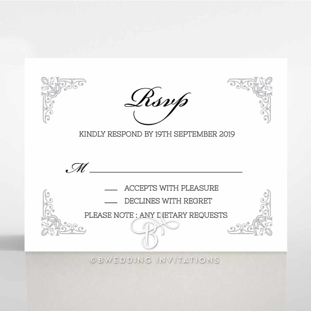 Black on Black Victorian Luxe rsvp wedding enclosure card