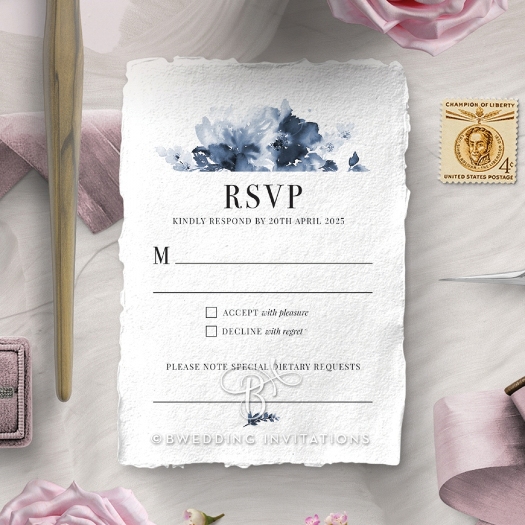 Dusty Watercolour wedding rsvp card