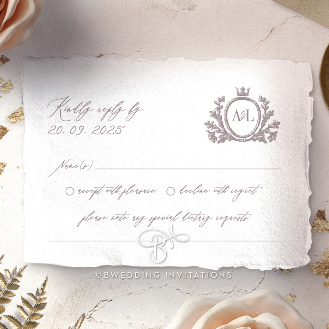 Royal Crest wedding rsvp card