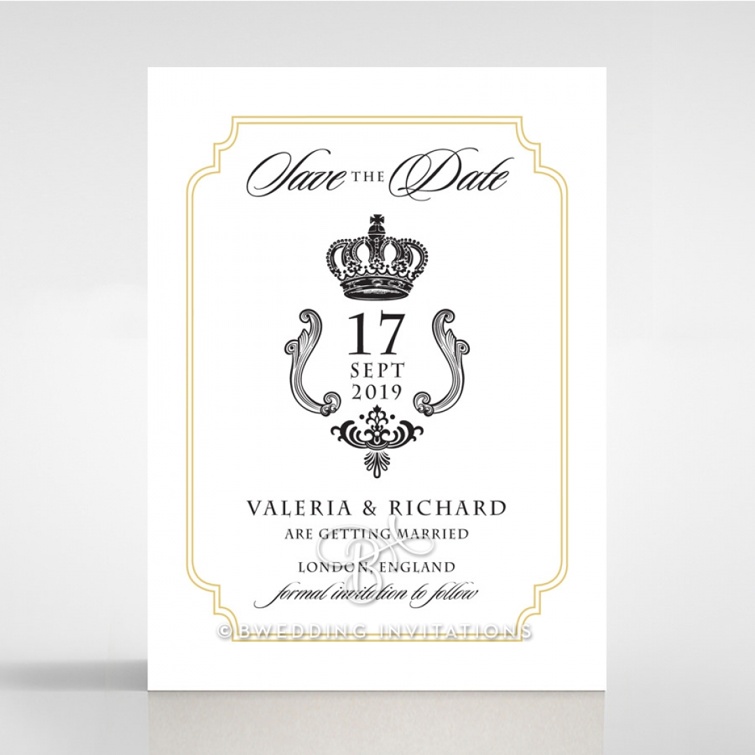 Black Victorian Gates wedding save the date stationery card design