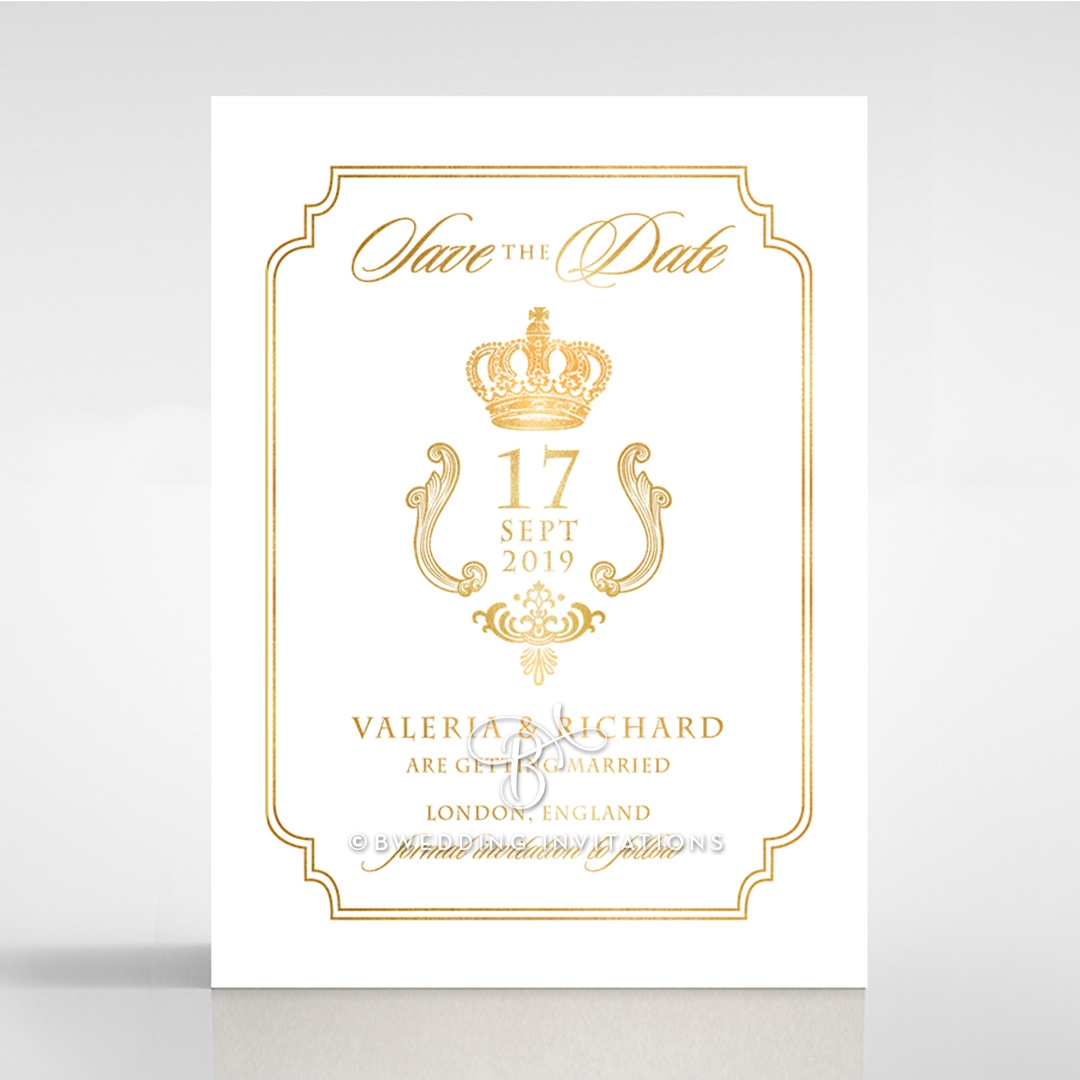 Black Victorian Gates with Foil wedding save the date stationery card item