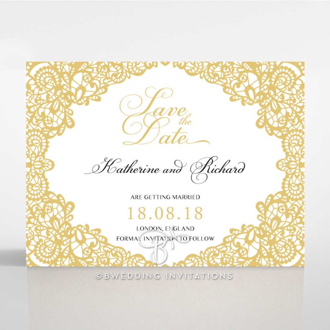 Charming Lace Frame save the date wedding card