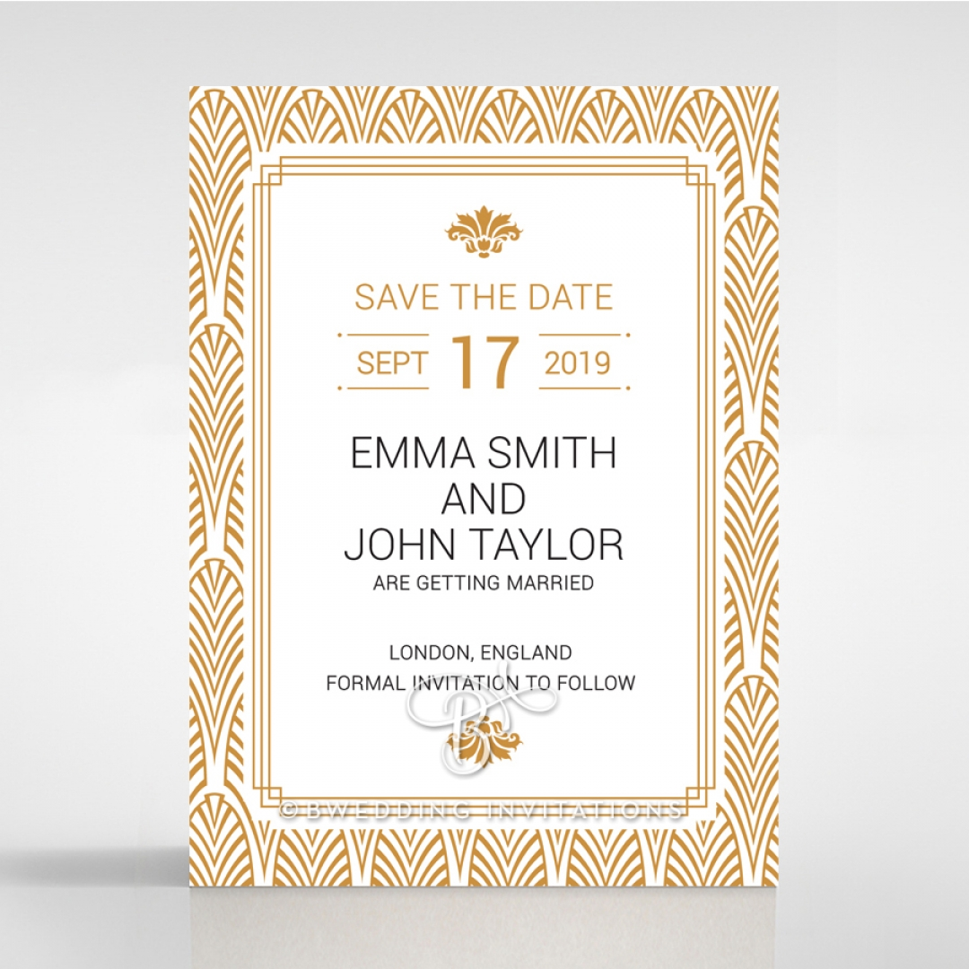 Gilded Decadence wedding stationery save the date card