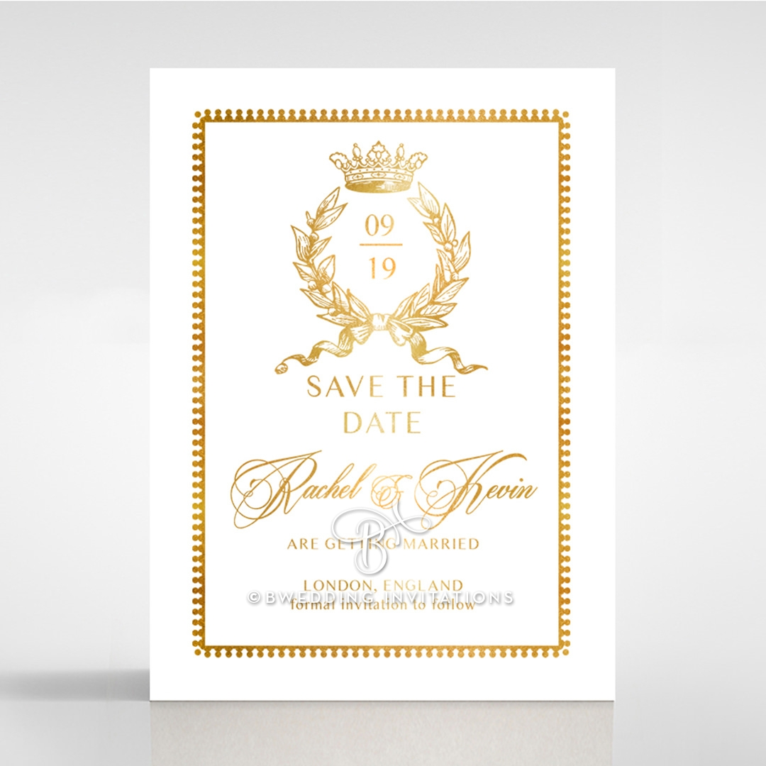 Ivory Doily Elegance with Foil wedding stationery save the date card item