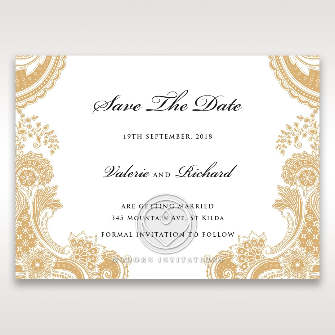 elegant gold and white save the date wedding card