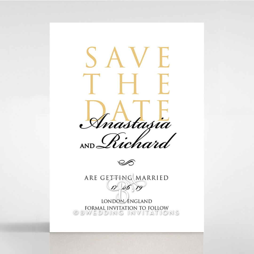 Quilted Letterpress Elegance save the date stationery card