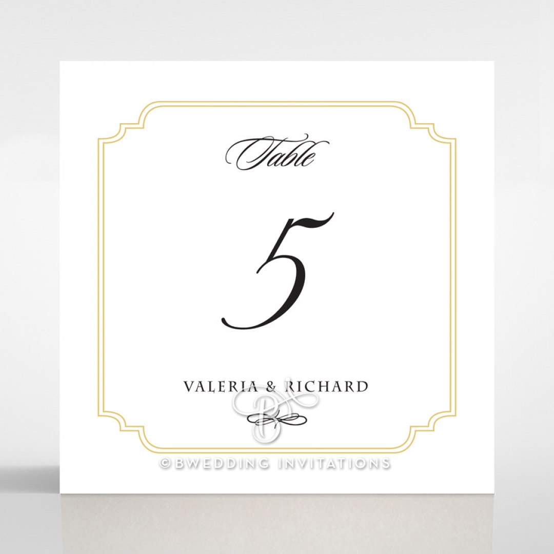 Black Victorian Gates wedding reception table number card stationery