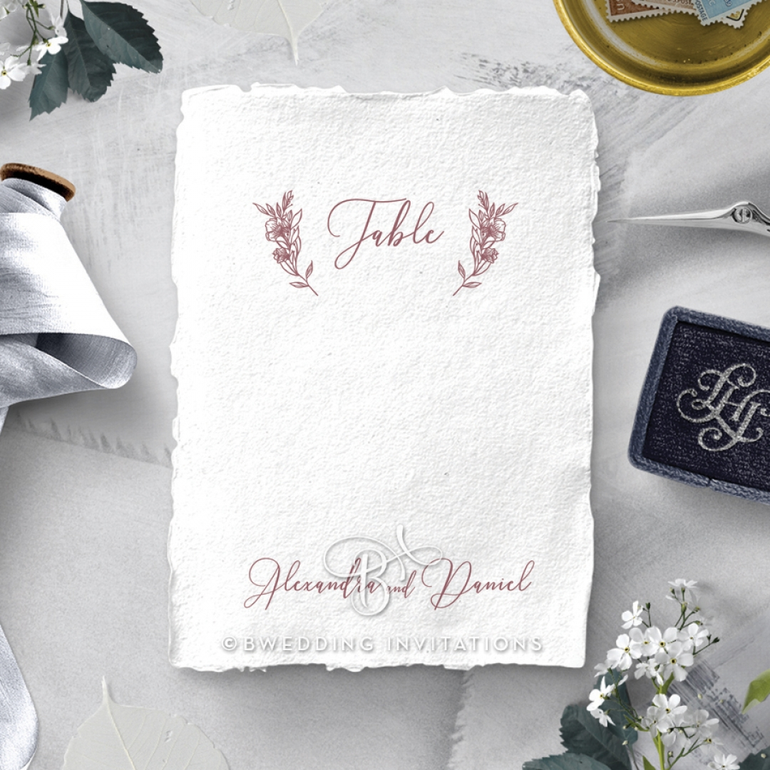 Bouquet of roses wedding reception table number card design