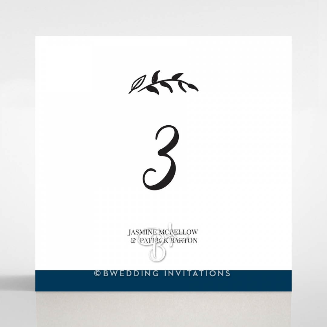 Forever Love Booklet - Navy wedding venue table number card stationery