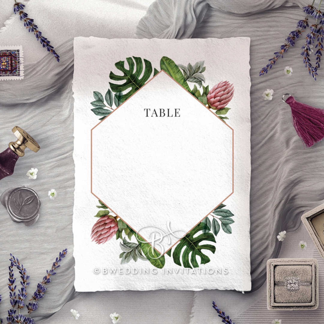 Tropical Island wedding venue table number card stationery item