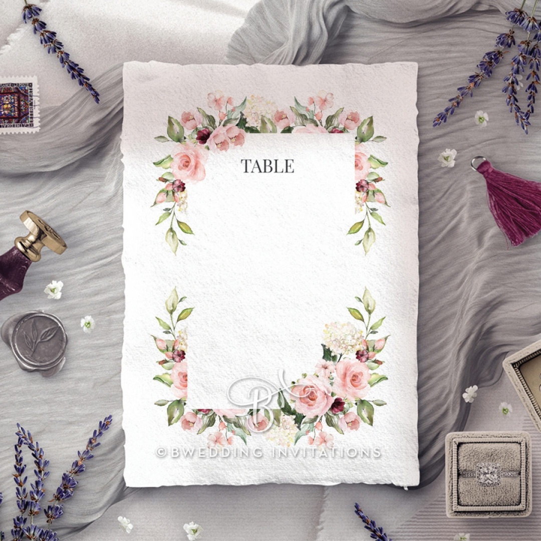 Vines of Love wedding venue table number card stationery