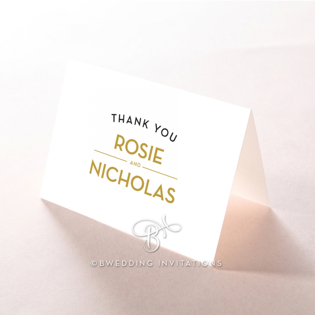 Gold Chic Charm Paper wedding stationery thank you card item
