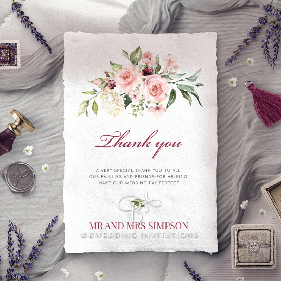 Vines of Love thank you wedding card