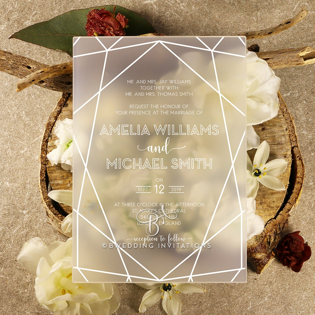 modern art deco frosted clear acrylic wedding invitation