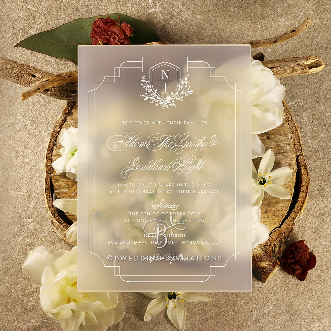 Acrylic Regal Enchantment Wedding Card Design