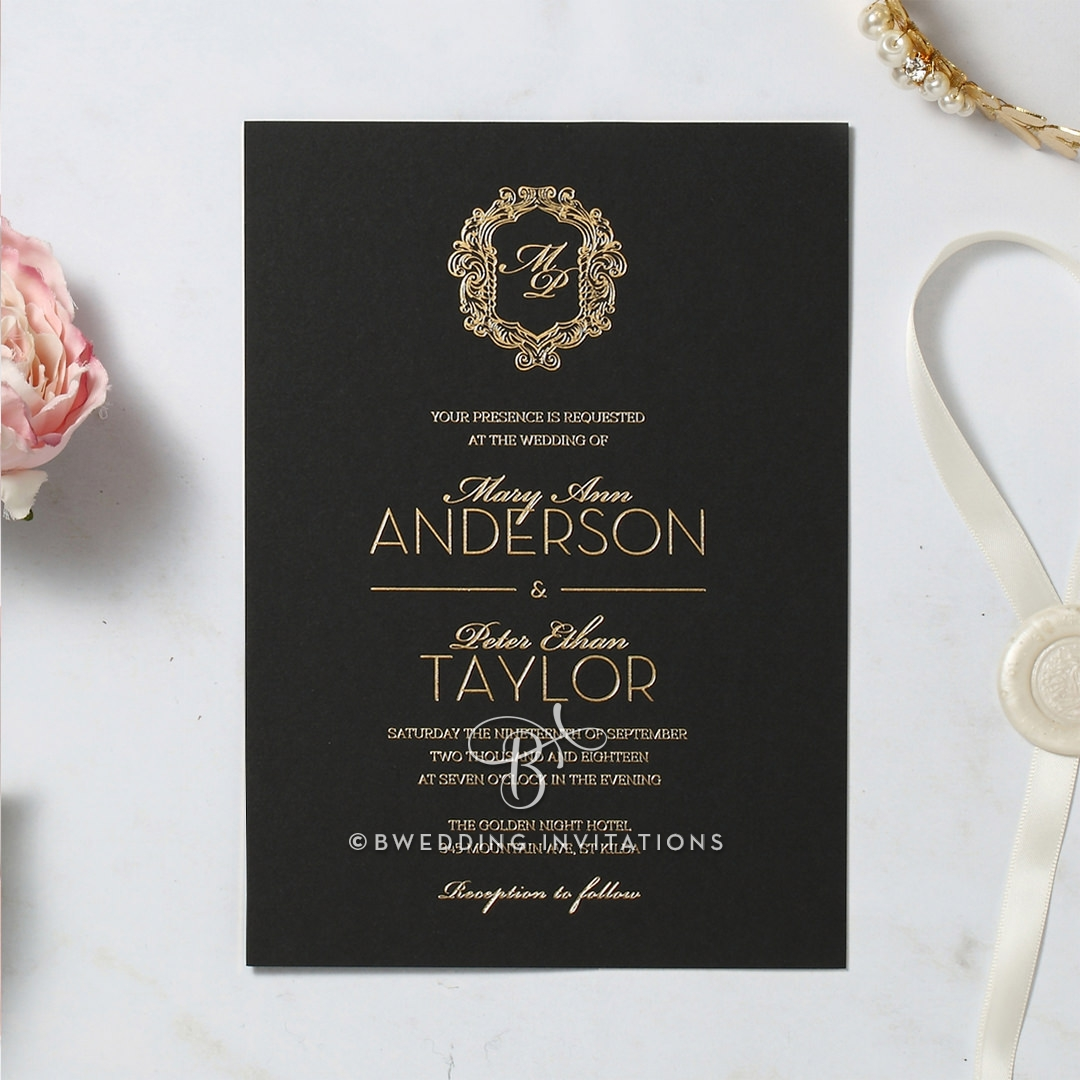 Aristocratic Style with Crest and Monogram, Gold on Black
