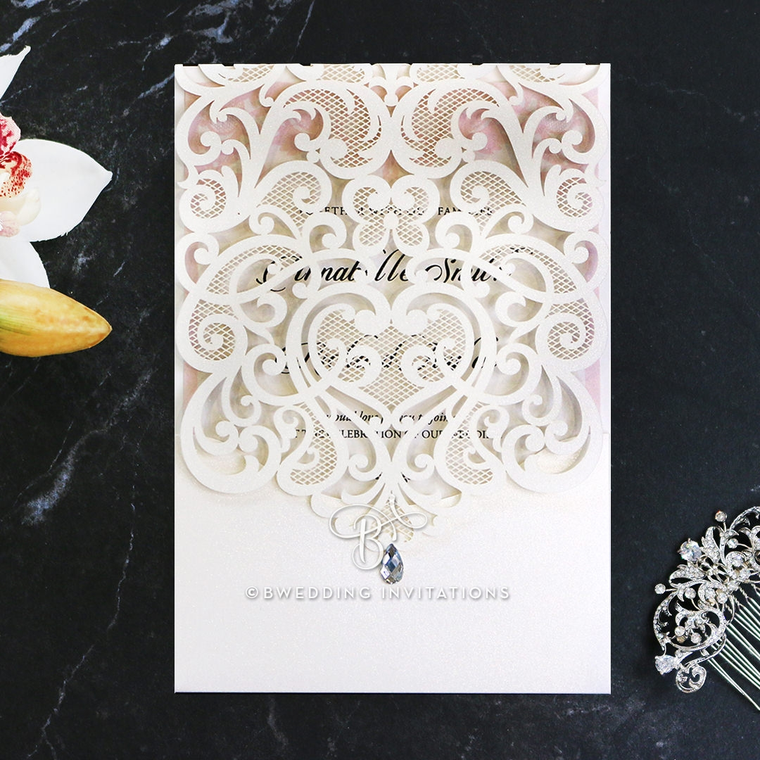 Charming Pocket Fold | Ivory Blossoms in Laser Cut Design