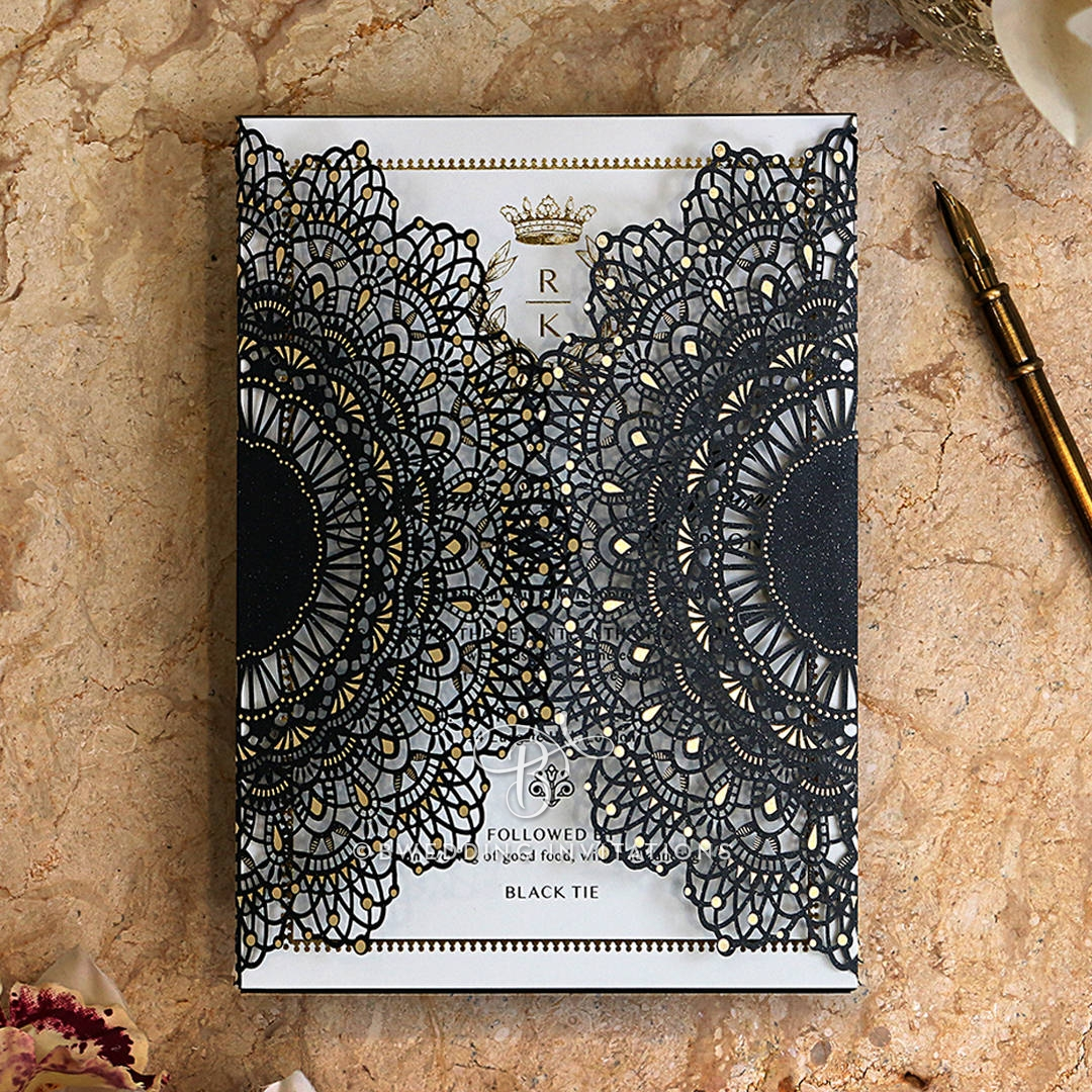 Black Doily Elegance with Foil Stationery invite