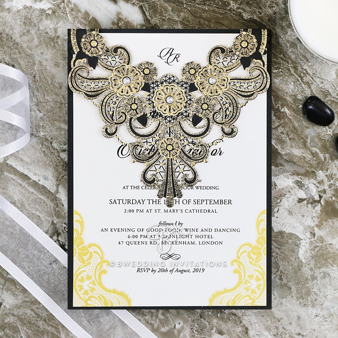 Glitz Sequin - Black and Gold Laser Cut Pocket | Luxury Wedding ...
