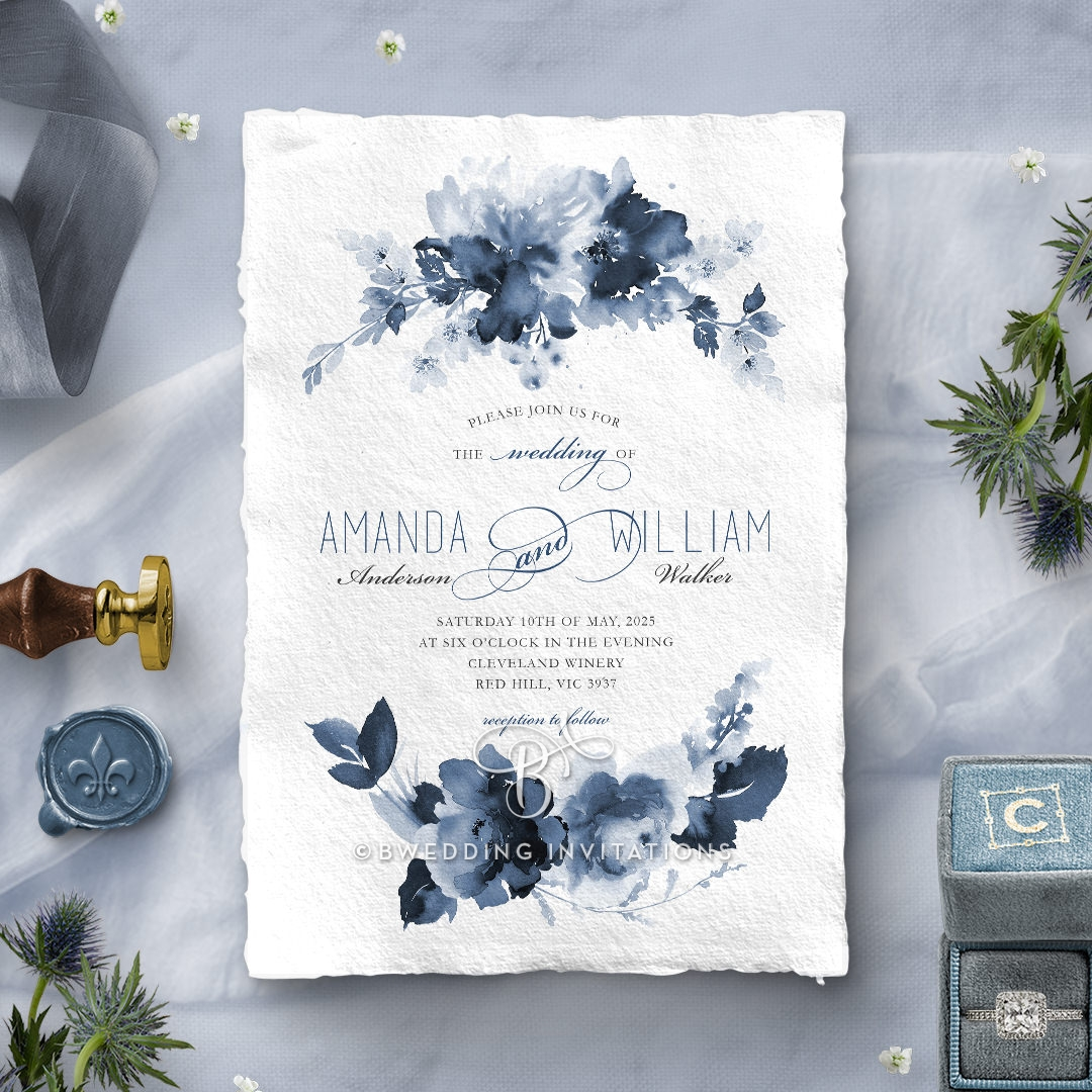 Blue Wonderland Invite Card Design