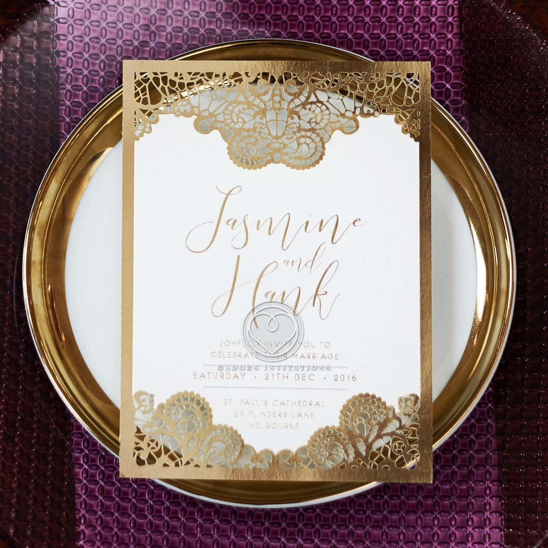 Breathtaking Baroque Foil Laser Cut Invitation