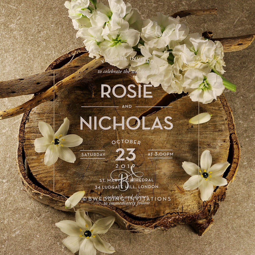 Clear Chic Charm Acrylic Wedding Invite