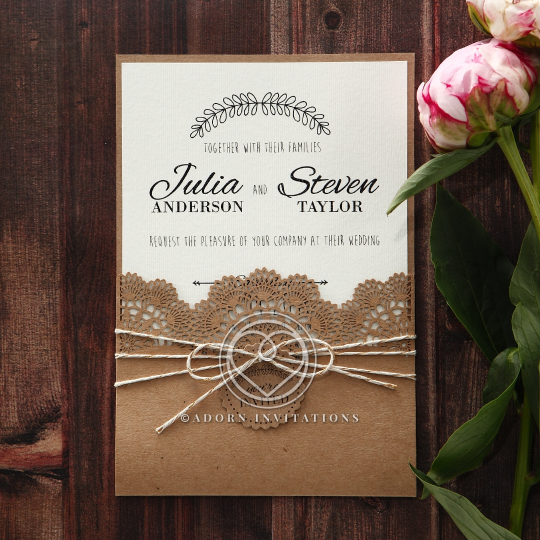 Country Wedding, Rustic, Twine and Craft Paper, Laser Cut