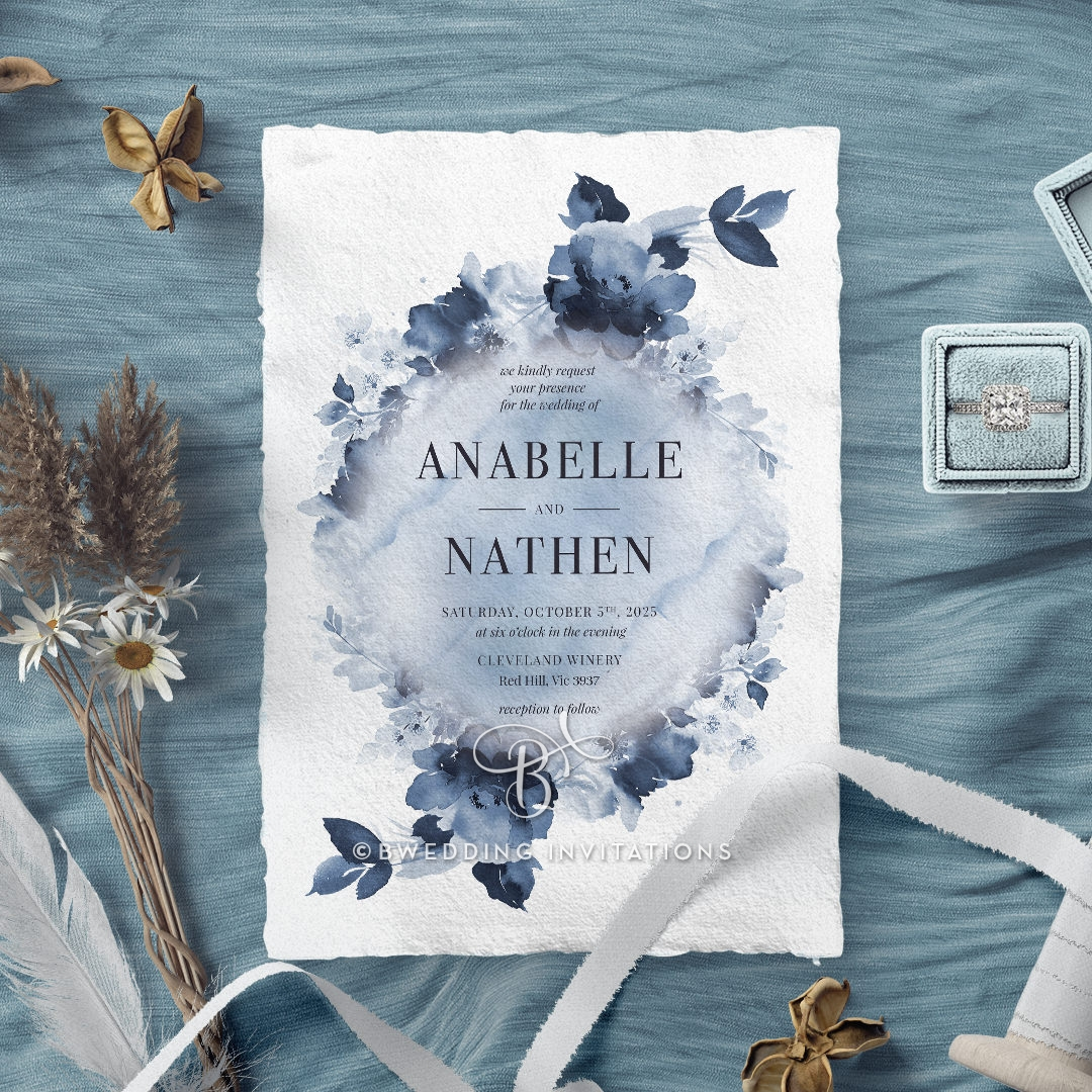 Dusty Watercolour Wedding Invite Card